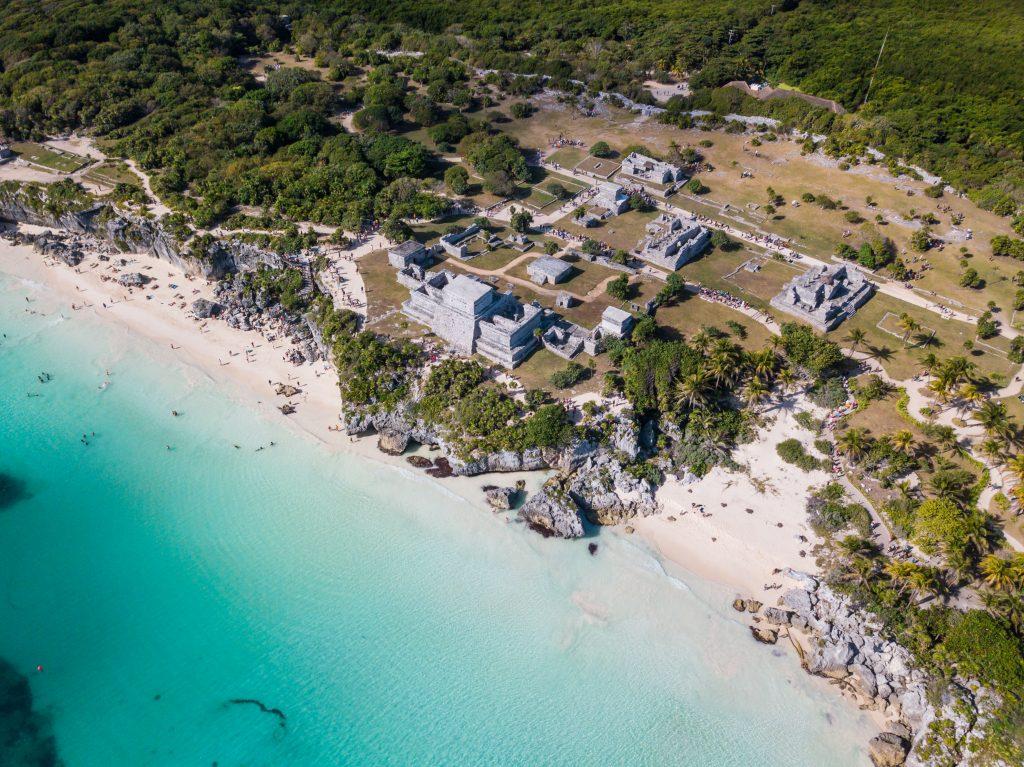 Vista aérea de Tulum en Yucatán